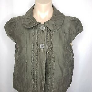 Ann Taylor Cap Sleeve 2 Button Green Cropped Jacket Office Career Fashion Size S