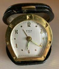 Ancien Réveil de Voyage SOLO 4 Jewels Métal doré cuir Etrier Vintage 40 50