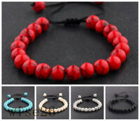 Couples Men's Women's Beads Turquoise Howlite Agate Macrame Weaving Bracelets