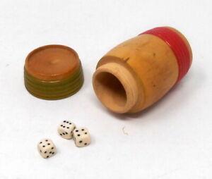 Superbe Jeu de dés vintage - Jeu de 421 avec boite forme tonneau en bois
