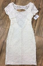 LUSH NORDSTROM WOMENS XS CREAM LACE DRESS SHORT SLEEVE CUT OUT BACK RRP$48 BNWT!