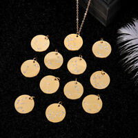 Zodiac Pendant Stainless Steel Gold Chain Constellation Zirconia Necklace