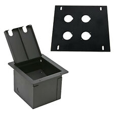 Elite Core Recessed Audio Stage Floor Box with 4 D Holes Punched Plate