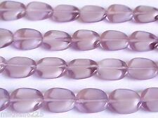 25 12 x 9 mm Twisted Flat Oval Beads: Light Amethyst/White