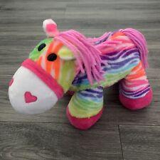 "Dan Dee Rainbow Zebra Plush Stuffed Animal Neon Striped Yarn Mane 14"" Horse"