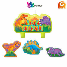 DINOSAUR PARTY SUPPLIES CANDLE MINI MOULDED PACK OF 4