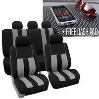 Full Set Car Seat Covers for Auto SUV Van Gray Black w/Dash Pad