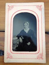 Antique 1800s Tintype Photograph Old Woman Grandma Black Dress White Bonnet