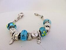 Silver Charm Bracelet with .925 Murano Glass Beads Clover Fleur de Lis Charms