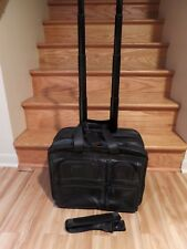 Tumi Black Alpha Collection Wheeled Deluxe Expandable Leather Brief 96103DH