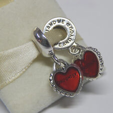 New Pandora 790950EN27 Charm 2 Piece Of My Heart Mother Daughter  Box Included