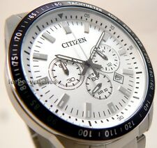 CITIZEN MEN CHRONO BLACK BEZEL TACHYMETER STAINLESS STEEL 50m AN8070-53A cg