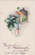 Vintage,Elf/Gnome,New Years Postcard,Used,Saarland (Saargebiet) Stamp,c.1930s