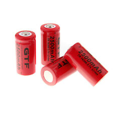 4Pcs GTF 3.7V 16340 2500mAh Li-ion Rechargeable Battery For Flashlight Torch