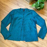 Eileen Fisher 100% Silk Teal Green Button Front Jacket Women's Size XS