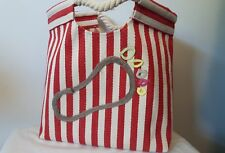 RED WHITE striped canvas BEACH TOTE NAUTICAL ROPE HANDLES footprint sand bag