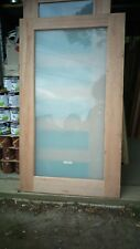 Maple solid entrance front barn exterior door 2040 x 1200  x 40  frosted glass