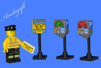 LEGO custom car parking meters traffic warden unique set  road city