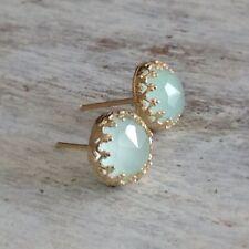 Gold filled light green jade stone stud earrings