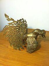 Vintage Brass Fighting Cock Rooster Mid Century Figurines-Gamecocks-Estate Find
