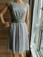 COAST LACE EMBELLISH DRESS SIZE UK 6 US 2 GREY 100 % POLYESTER