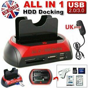 Mobile HDD Docking Station 2.5″/3.5″ IDE+SATA USB Dual Hard Drive Card Reader UK