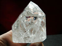 A Big! Super Translucent Polished Fire and Ice Quartz Crystal From Brazil 251gr