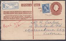 1956 Australia Ballarat Victoria uprated QEII Registered Envelope: Murrumbeena