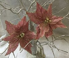 Pink Hessian Gold Glitter Poinsettia Clip In Decoration Table Tree Christmas