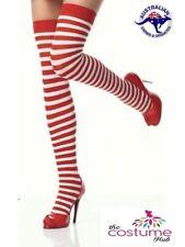 Red White Stripe Socks Stockings Fancy Dress Up Christmas Costume