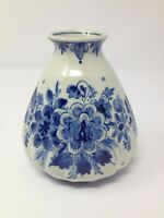 "Delft Blauw Blue Vase Rippled Floral Holland 4.75"" EUC"