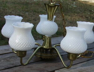 Hobnail Milk White Swag Hanging Lamp Chandelier 5 GlassShades + one extra
