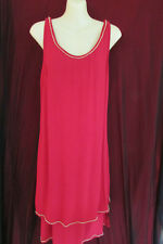 Crossroads Sheer Red/Gold Trim Shift/Gatsby Style Dress Size12 Party/Dinner/Club