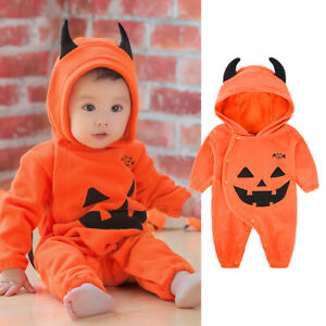 Halloween Pumpkin Boy Girl Fleece Jumpsuit Baby Fancy Costume Cute Clothes UK
