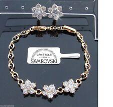 Bracciale Tennis Aurora oro 24k orecchini fiori donna,braccialetto bianco SW3