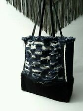 CARTEL Denim Ripped and Fur Tote Denim Collection Leather Handles BOHO  RARE
