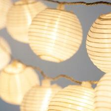 30 LED  White Solar Powered Chinese Lantern Garden String Lights yard Decorating