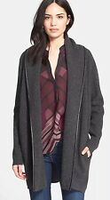 VINCE Shawl Collar Leather Tip Sweater Car Coat (L) $695
