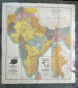 WW2 1942 Map Of  India & Burma Showing Railways Paper Folding
