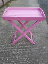 Butlers Serving Tray Table Solid Hardwood Folding Tea Stand Pink Garden Table