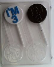 IM 3 LOLLIPOP CLEAR PLASTIC CHOCOLATE CANDY MOLD N003