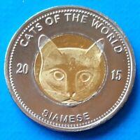 Puntland 25 shillings 2015 UNC Siamese Cat Bi-metallic Bimetal unusual