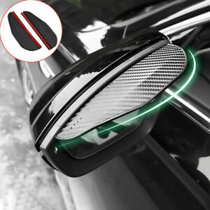 2x Black Carbon Fiber Auto Car Rear View Mirror Rain Visor Guard Cover Sticker