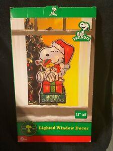 "PEANUTS Snoopy & Woodstock Merry Christmas  15"" LIGHTED Window DECOR"