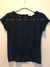 Ann Taylor LOFT Shirt Size XSP Womens Black Short Sleeve Petite Sheer Flowers