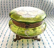 Vintage Footed Green Glass Powder Jar w/Hinged Lid, Hand Painted Enamel Design