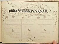 Lg Mid 19c Handwritten Manuscript Book Album Superb Calligraphy Maps Art Signed