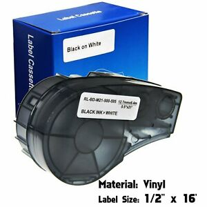 "Label Cartridge For Brady M21-500-595-WT BMP21-PLUS / Lab Black/White 1/2"" x 16'"