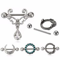 1/2pcs 14G Stainless Steel CZ Turquoise Moon Bar Barbell Nipple Ring Piercing