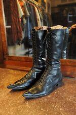 Rare John Fluevog 1986 goth lace up 20 hole derby boots.Black.Unisex ( sz11 men)